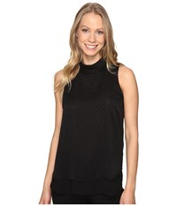 Ellen Tracy Double Layer High Neck Shell E Black Women's Clothing