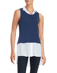 Red Haute Linen Blend Shirt Tank Navy