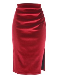 Jane Norman Ruched Velvet Skirt Red
