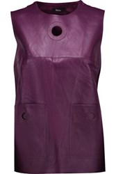 Raoul Wrap Effect Leather And Crepe Top Grape