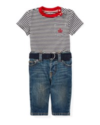 Ralph Lauren Striped Jersey Ringer Tee W Jeans And Belt White