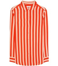 Equipment Essential Striped Silk Shirt Orange