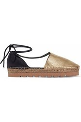 Brunello Cucinelli Lace Up Smooth And Metallic Leather Espadrilles Gold