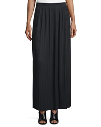 Joan Vass Long Pleated Skirt Black Petite
