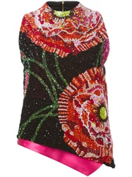 Manish Arora Sequins Embroidered Asymmetric Top Black