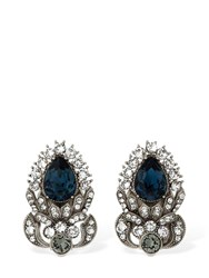 Dolce And Gabbana Sterling Silver Stud Earrings W Crystals Blue