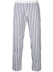 Coohem Striped Tweed Pants White