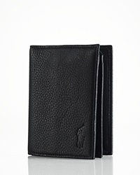 Polo Ralph Lauren Pebbled Leather Window Billfold Wallet Black