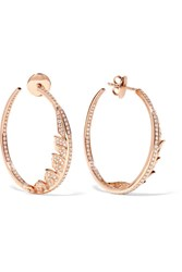 Stephen Webster Magnipheasant 18 Karat Rose Gold Diamond Hoop Earrings Usd
