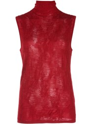 Helmut Lang Turtleneck Knitted Top Red