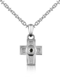 Forzieri Central Black Sapphire Stainless Steel Cross Pendant Necklace Silver