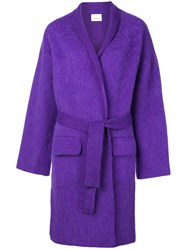 Laneus Belted Cardigan Coat Pink And Purple