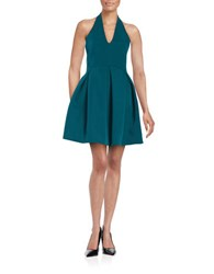 Halston Bonded Satin Halter Dress Spruce