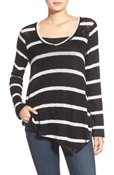 Women's Splendid V Neck Stripe Sweater Black