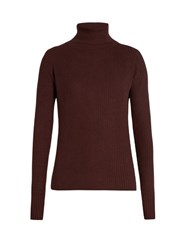 Raey Roll Neck Ribbed Fine Knit Cashmere Sweater Burgundy