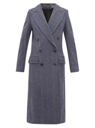 Ann Demeulemeester Double Breasted Wool Blend Coat Blue