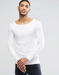 Asos Rib Extreme Muscle Long Sleeve T Shirt With Boat Neck In Off White Off White