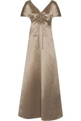 Barbara Casasola Silk Satin Maxi Dress Mushroom
