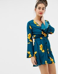 Influence Floral Print Wrap Midi Dress With Ruffle Green