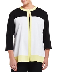 Misook Colorblock Textured Stripe 3 4 Sleeve Jacket White Black Yellow