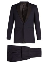 Burberry Contrast Lapel Single Breasted Wool Tuxedo Navy