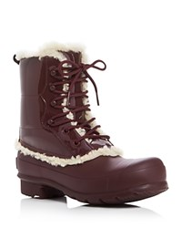 Hunter Original Patent Leather Lace Up Shearling Lined Rain Boots Dulse