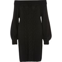 River Island Womens Black Bardot Cable Knit Dress