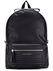 Alexander Mcqueen Ribbed Panel Backpack Black