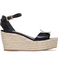 Roger Vivier Corda Leather Wedge Sandals Black