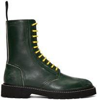 Maison Martin Margiela Green Leather Distressed Boots
