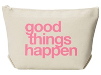 Dogeared Good Things Happen Lil Zip Bag Canvas Pink Cosmetic Case Bone
