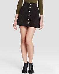 Alexa Chung For Ag The Gove Suede Skirt Suede Super Black