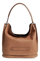 Longchamp '3D' Leather Hobo Beige Taupe