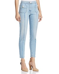 Boutique Moschino Pearlescent Button Skinny Jeans Blue