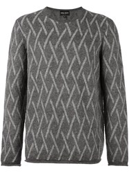 Giorgio Armani Diamond Print Jumper Grey