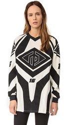 Rag And Bone Optical Moto Print Tunic Ivory Black