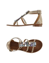 Coral Blue Thong Sandals Gold