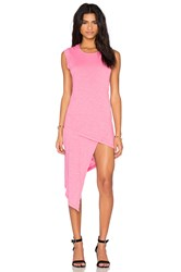 Bobi Cotton Slub Sleeveless Asymmetrical Mini Dress Pink