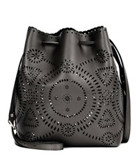 Polo Ralph Lauren Perforated Leather Bucket Bag Black