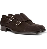 Tom Ford Edgar Suede Monk Strap Shoes Brown