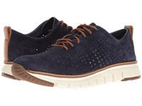 Cole Haan Zerogrand Laser Perf Sneaker Washed Indigo Suede Open Ivory Men's Shoes Black