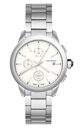 Tory Burch Women's Collins Chronograph Watch 38Mm Silver Ivory Silver