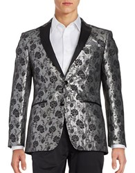 Tallia Orange Floral Dinner Jacket Silver