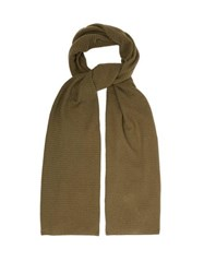 Allude Knitted Cashmere Scarf Khaki