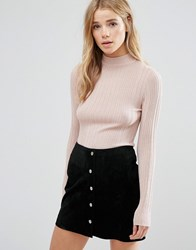 New Look Metallic High Neck Jumper Pink Metallic