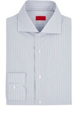 Isaia Men's Pinstriped Cotton Poplin Shirt Light Grey White Light Grey White