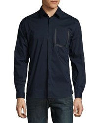 H Halston Casual Button Down Shirt Midnight