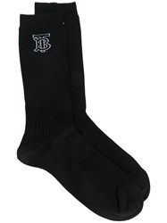 Burberry Knitted Intarsia Ribbed Socks Black