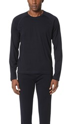 Z Zegna Techmerino Jersey Long Sleeve Crew Tee Navy