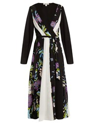 Diane Von Furstenberg Contrast Panel Floral Print Silk Dress Black Multi